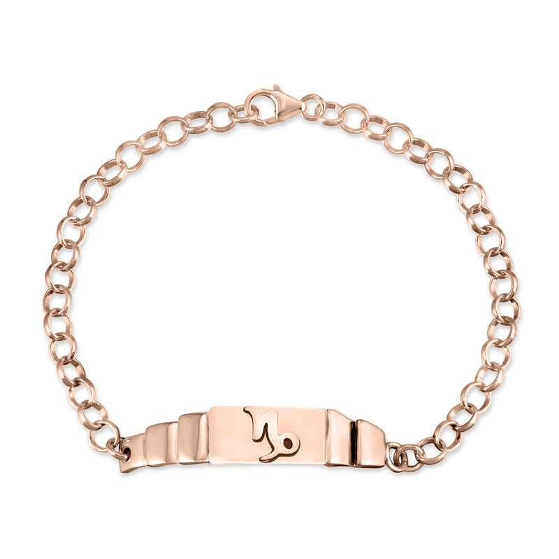 The W Brothers Capricorn Zodiac Horoscope Bracelet paired with a sterling silver rollo chain bracelet. Crafted to perfection in 925 sterling silver, available in real 18k gold and rose gold. Shop your unique look at TheWBros.com