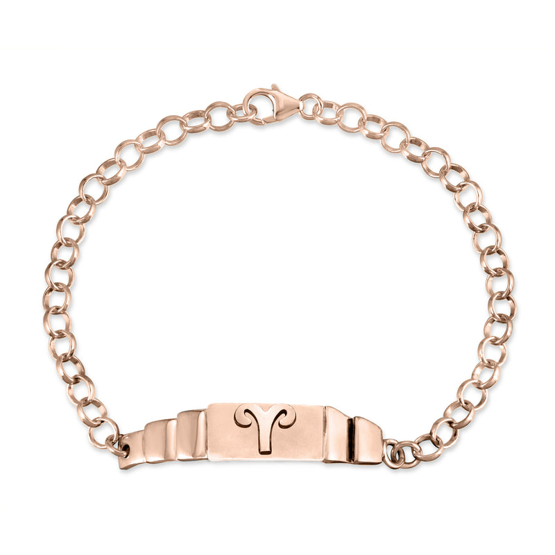 The W Brothers Aries Zodiac Horoscope Bracelet paired with a sterling silver rollo chain bracelet. Crafted to perfection in 925 sterling silver, available in real 18k gold and rose gold. Shop your unique look at TheWBros.com