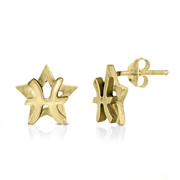 The W Brothers hand-crafted 925 Sterling silver Pisces Horoscope Zodiac Stud Earrings with an oxidized star behind. Available in premium sterling silver, real 18k yellow gold or rose gold layering. Shop your original look only at thewbros.com