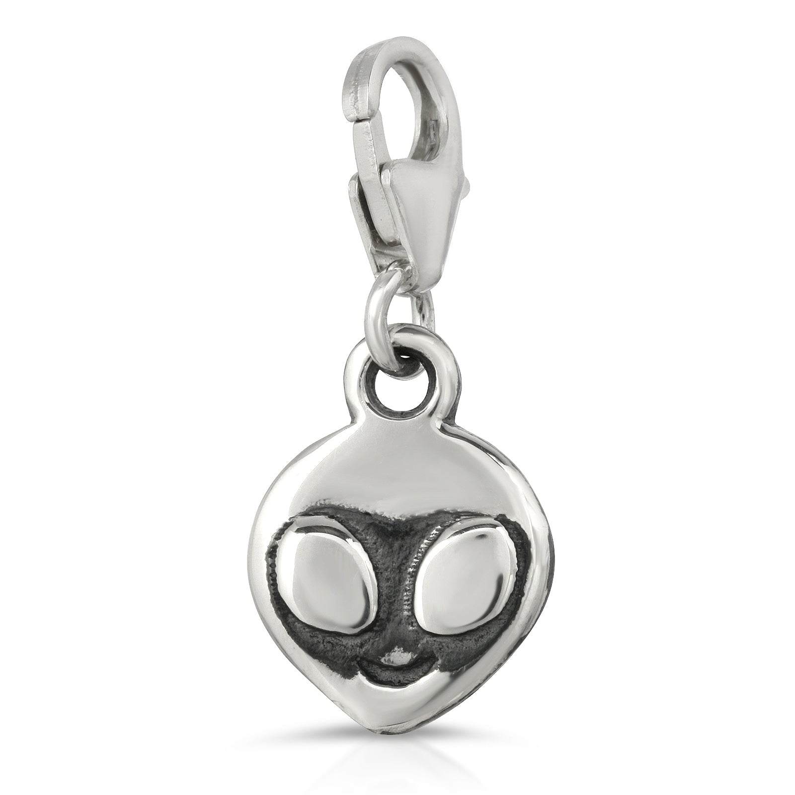 The W Brothers Premium Grade A 925 Sterling Silver Alien Charm Pendant, perfect for a fashionable statement for men and women's jewelry accessory. Available at www.thewbros.com