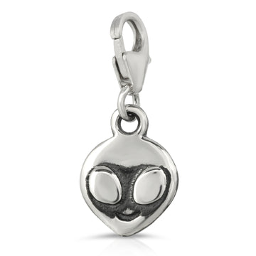alien charm made of 925 Sterling Silver by The W Brothers jewelry, keychain pendant charm UFO