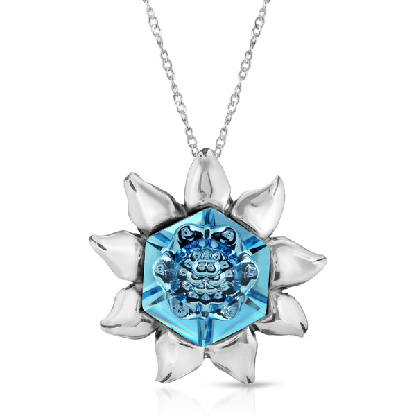 The W Brothers aquamarine swarovski hexagon blossom crystal, crafted with 925 sterling silver A Grade Silver thewbros aquamarine swarovski hexagon flower blossom crystal necklace pendant thewbrothers swarvoski hexagon collection jewelry necklace pendant