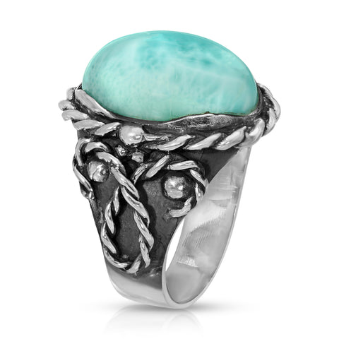 Larimar Braided Oval Ring