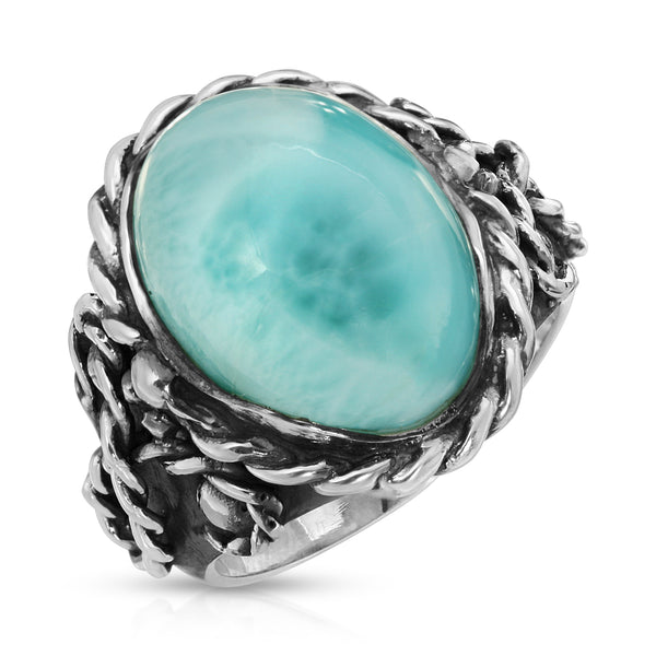 Larimar Braided Oval Ring - The W Brothers