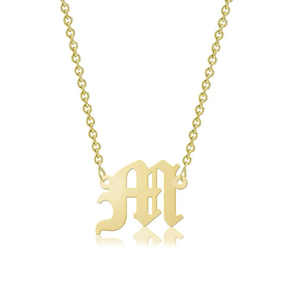 Custom Old English Letter Necklace - The W Brothers
