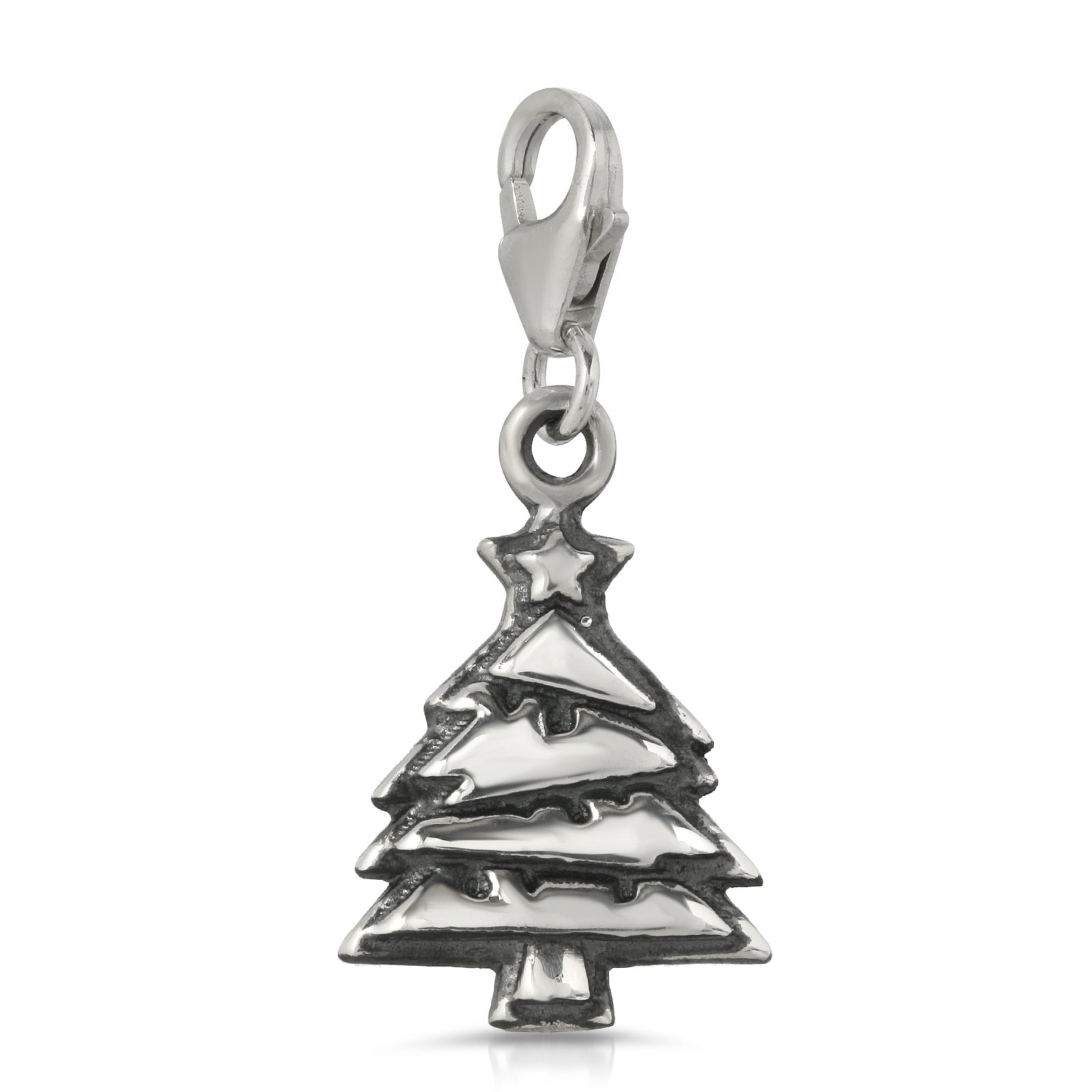 The W Brothers Premium Grade A 925 Sterling Silver Christmas Tree Charm Necklace, perfect for a fashionable statement for men and women's jewelry accessory. Available at www.thewbros.com