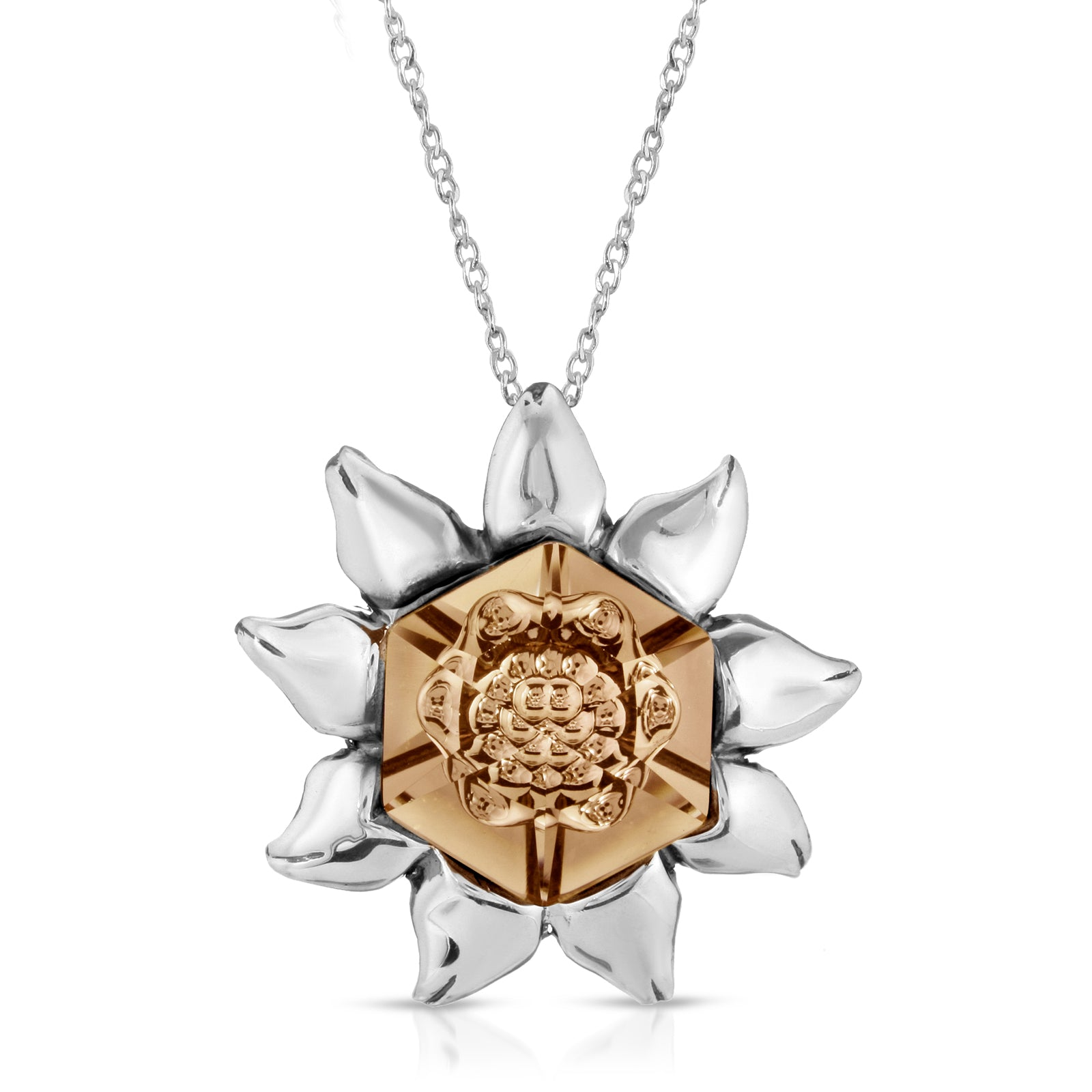 The W Brothers peach swarovski hexagon crystal blossom necklace pendant, thewbros swarvoski peach crystal flower blossom pendant necklace for women, Premium A Grade 925 Sterling silver crystal pendant, peach color crystal pendant swarovski crystal collection by thewbrothers