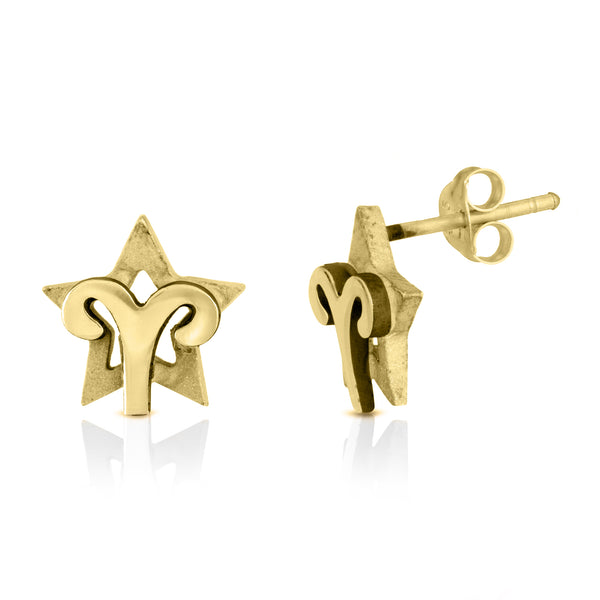 The W Brothers hand-crafted premium 925 Sterling silver star-sign stud earrings crafted in the highest quality of sterling silver with an oxidized star sign in the back with the beautiful Aries Horoscope Zodiac Fire symbol projecting on the front. Available in premium sterling silver, real 18k yellow gold & rose gold. Shop your original look only at thewbros.com