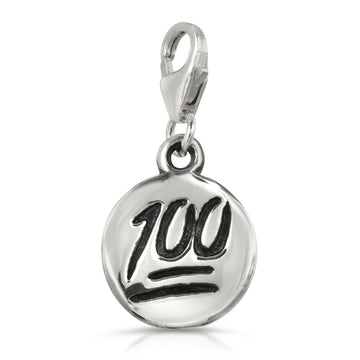 100 emoji charm silver pendant keychain 925 sterling silver charm, keep it 100 jewelry