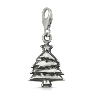 The W Brothers Christmas tree charm, xmas charm 925 sterling silver jewelry pendant charm