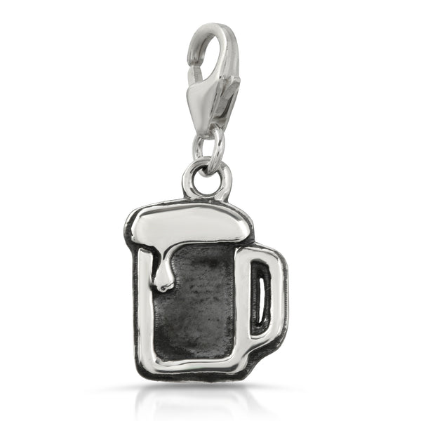 The W Brothers Premium Grade A 925 Sterling Silver Beer Mug Charm Pendant, perfect for a fashionable statement for men and women's jewelry accessory. Available at www.thewbros.com