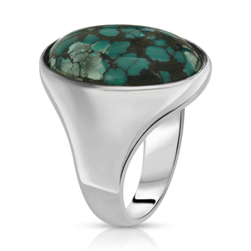 The W Brothers Green Turquoise Oval Ring Gemstone made with 925 Sterling Silver