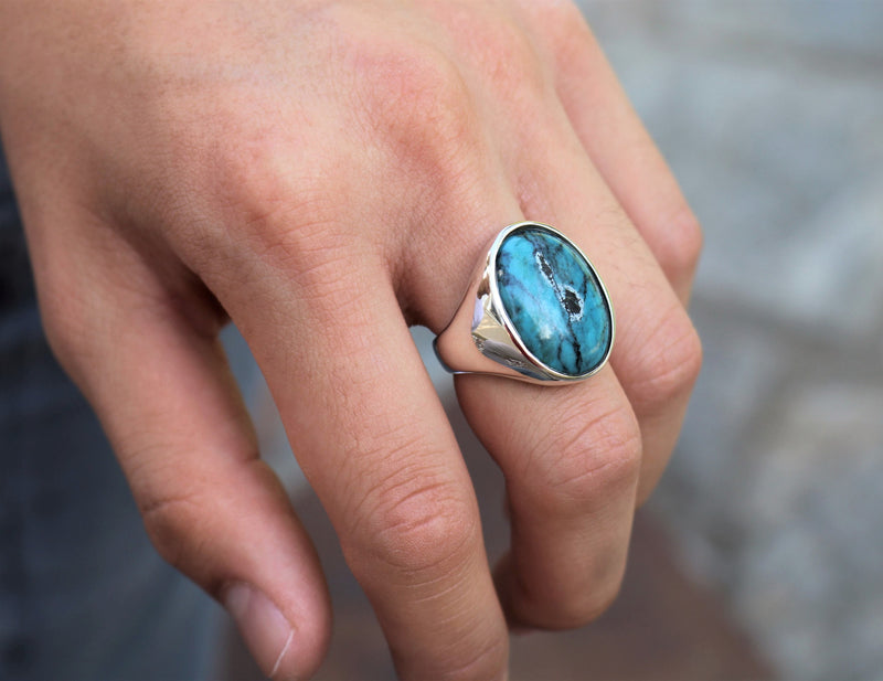 Blue Turquoise Oval Ring - The W Brothers The W Brothers blue turquoise ring and oval-cut earrings bundle set, A Grade 925 sterling silver turquoise ring earrings AA Grade Turquoise precious gemstone collection, thewbros gemstone bundle set deals collection