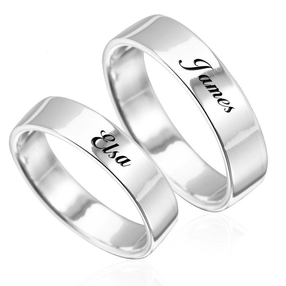Custom Wedding Band Ring - The W Brothers premium A Grade Silver engraved ring band jewelry perfect couples gift, thewbros custom silver ring band gift jewelry engraved rings