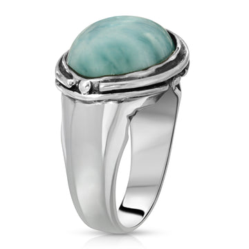 Larimar silver ring stone gemstone high fashion jewelry men women The W Brothers