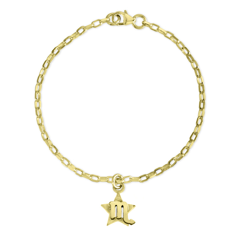 The W Brothers Sterling Silver Horoscope Zodiac Scorpio charm bracelet crafted in premium 925 sterling silver, but also available in Real 18k Gold or Rose gold layerings. This special charm bracelet features a mini star behind the star-sign, paired with a cable-link in premium sterling silver. Shop your original look at TheWBros.com