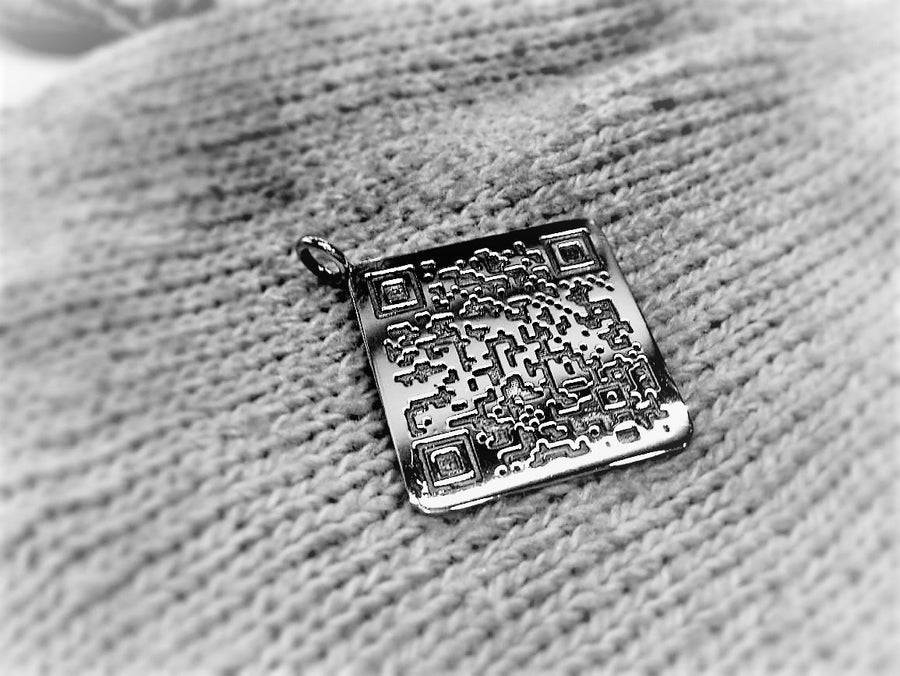 Sterling Silver QR Code Necklace Ring by The W Brothers
