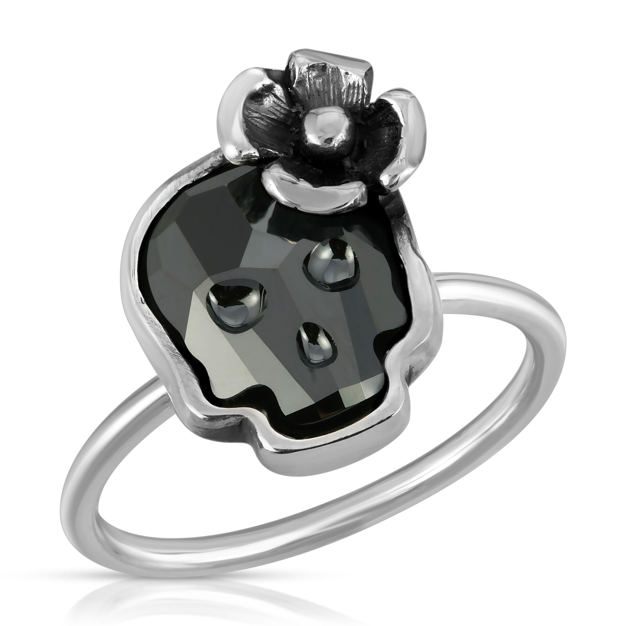 The W brothers Swarovski Skull Ring in chrome black with a gorgeous silver flower crafted from premium Grade A Sterling Silver. Perfect jewelry accessory ring for fashionable statement women. Available at www.thewbros.com