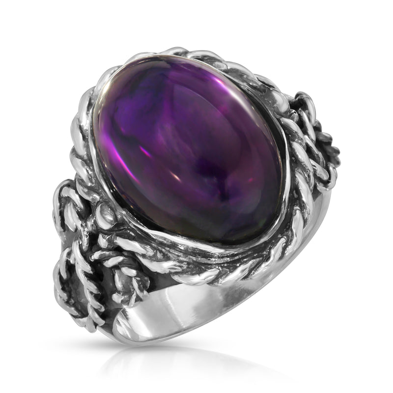 The W Brothers Premium Grade A 925 Sterling Silver Braided Amethyst Oval Ring, perfect for a fashionable statement for men and women's jewelry accessory. Available at www.thewbros.com