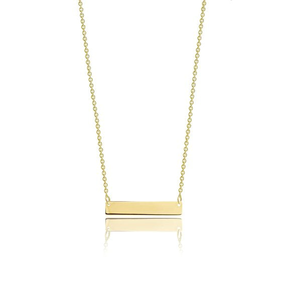 The W Brothers Gold Bar Plate custom personalized necklace engraving perfect for birthday anniversary gifts. Made from 925 Sterling Silver in Gold, Rose Gold, and Silver.