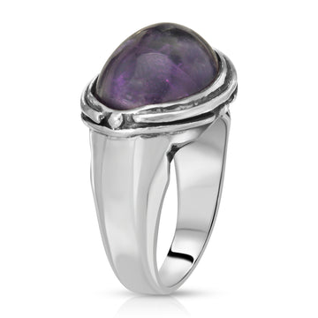 The W Brothers 925 Sterling Silver Oval Amethyst Gemstone Ring