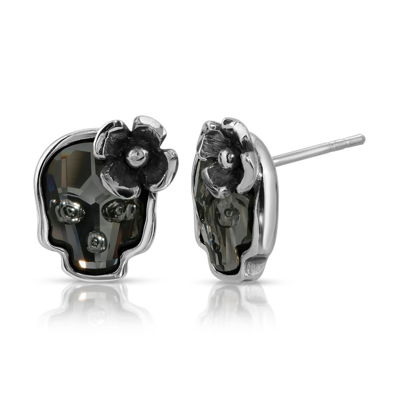 he W brothers Swarovski Skull Stud Earrings in clear black with a gorgeous silver flower crafted from premium Grade A Sterling Silver. Perfect jewelry accessory stud earrings for fashionable statement women. Available at www.thewbros.com