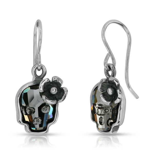 The W brothers Swarovski Skull earrings in Clear Black with a gorgeous silver flower crafted from premium Grade A Sterling Silver. Perfect jewelry accessory earrings for fashionable statement women. Available at www.thewbros.com