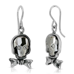 The W brothers Swarovski Skull Earrings in silver night with a gorgeous silver bowtie crafted from premium Grade A Sterling Silver. Perfect jewelry accessory earrings for fashionable statement women. Available at www.thewbros.com