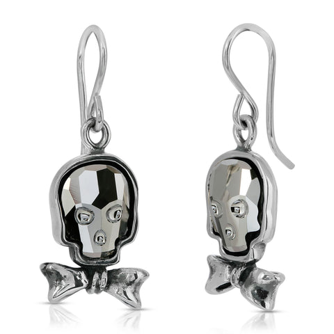 Silver Night Bowtie Skull Earrings