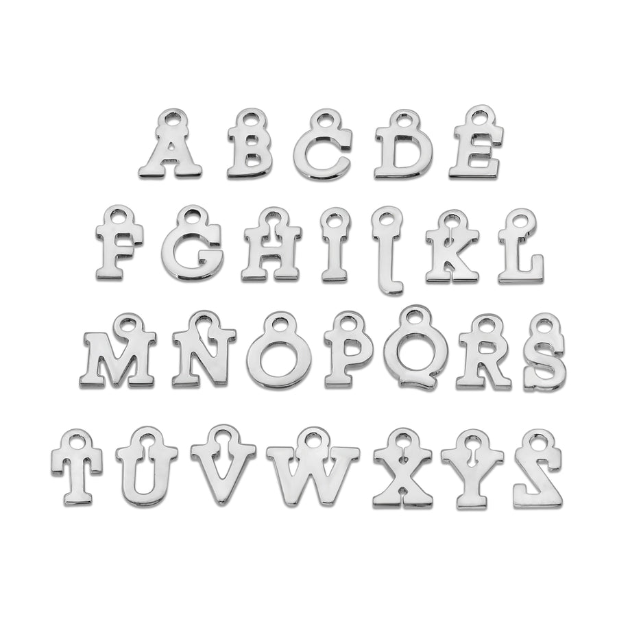 Custom block style abc letter necklace chain The W Brothers 925 sterling silver jewelry