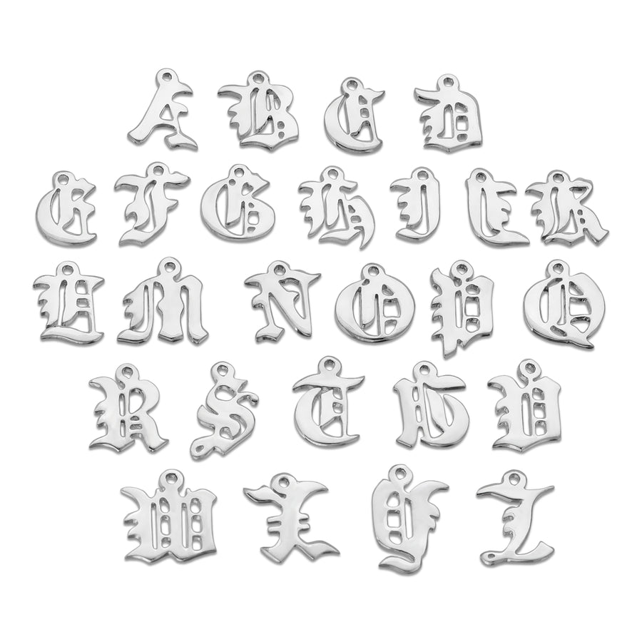 Custom old english font style abc letter necklace chain The W Brothers 925 sterling silver jewelry