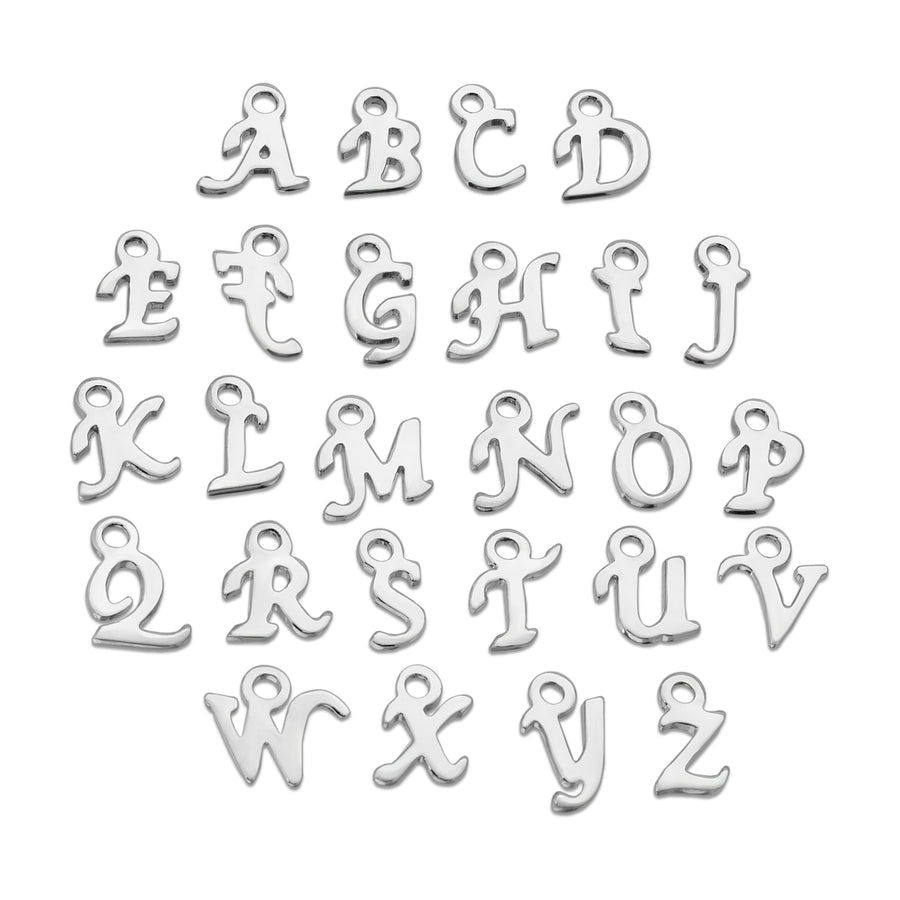 Custom cursive script style abc letter necklace chain The W Brothers 925 sterling silver jewelry