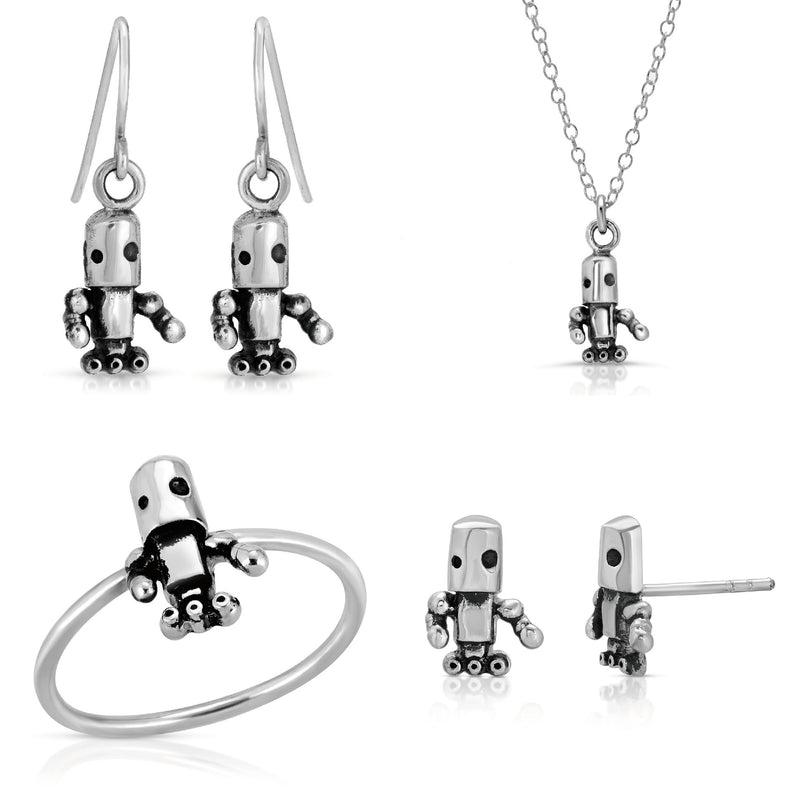 The W Brothers astro bot space area 51 collection, cute robot 925 sterling silver A Grade robot necklace ring earrings astro bot area 51 collection jewelry set -thewbros thewbrothers space area 51 collection cute robot jewelry