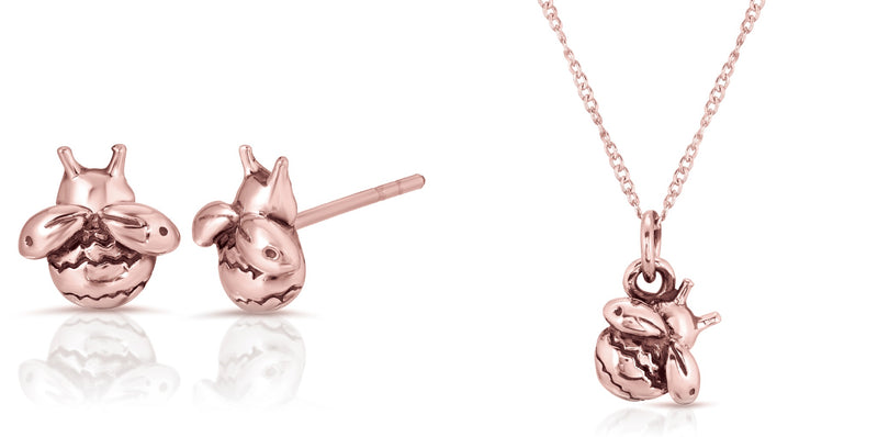 Bumblebee necklace earrings set -thewbrothers, Real 18k Rose Gold layer A Grade 925 sterling silver bumble bee earrings necklace bundle set deal, best deal silver jewelry set 18k real rose gold bumblebee jewelry set -thewbros