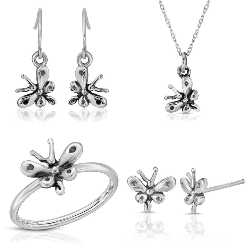 The W Brothers Monsterz Collection Bundle Set Package Deal featuring our baby butterfly stud earrings, earrings, dangle earrings, ring, pendant necklace in 925 Sterling Silver for female accessory and fashion. Elegant bundle set package available at www.thewbros.com
