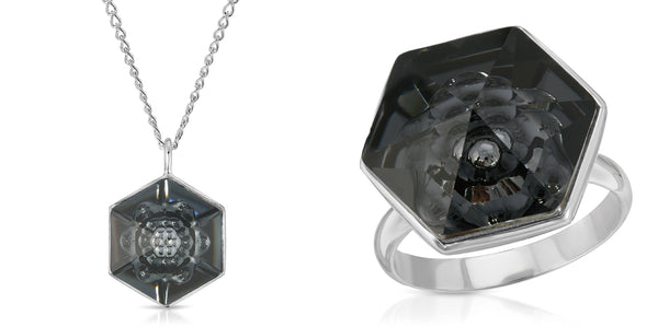 The W Brothers 18 mm Hexagon Black Swarovski Pendant Necklace and ring in Silver for girls, women, men , and male. Elegant Bundle set package deal at www.thewbros.com