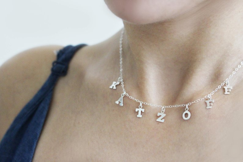 The W Brothers Premium Grade A 925 Sterling Silver Block Hanging Name Letter Necklace, perfect for a fashionable statement for men and women's jewelry accessory. Available in silver, gold, rose gold and 14K white gold at www.thewbros.com