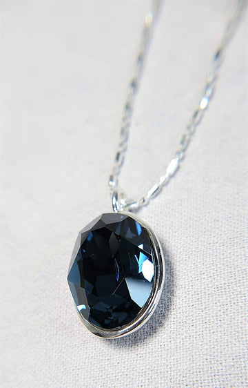 The W Brothers Blue Montana Swarovski Sterling Silver Pendant Necklace for Female, set with a Swarovski Crystal