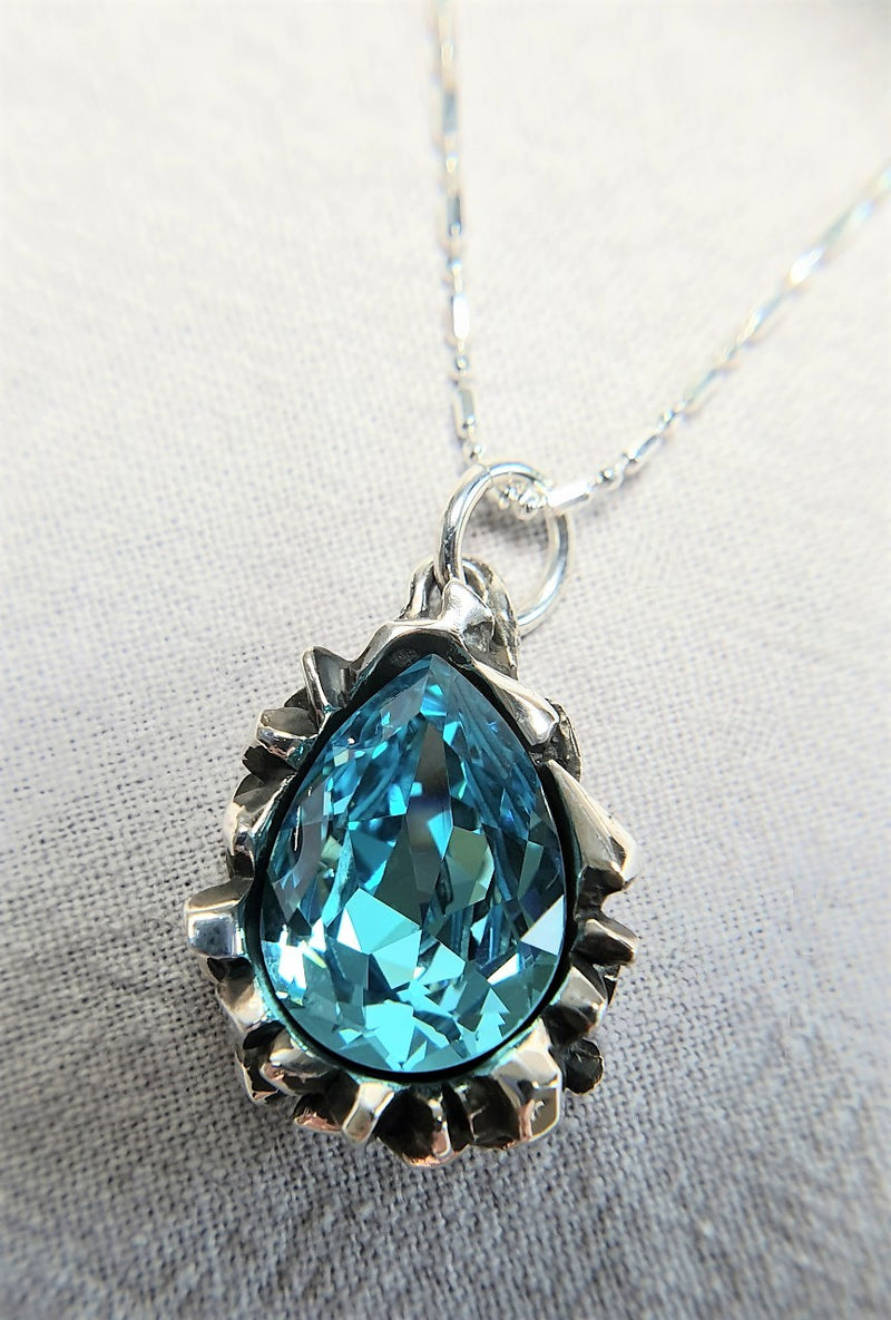 Pear Cut Blue Tourmaline Swarovski Pendant - The W Brothers
