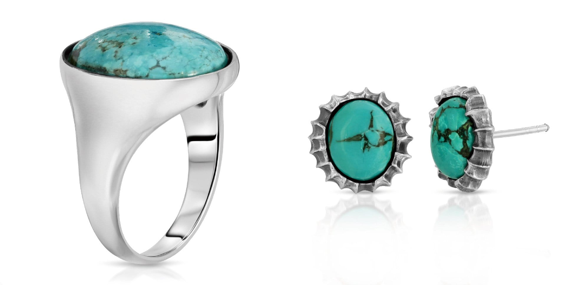 The W Brothers blue turquoise ring and sunshine earrings bundle set, A Grade 925 sterling silver turquoise ring earrings AA Grade Turquoise precious gemstone collection, thewbros gemstone bundle set deals collection