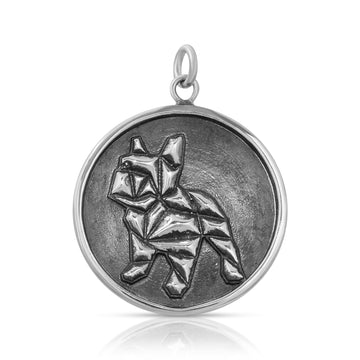 Mini Geometric French Bulldog Pendant necklace sterling silver by The W Brothers