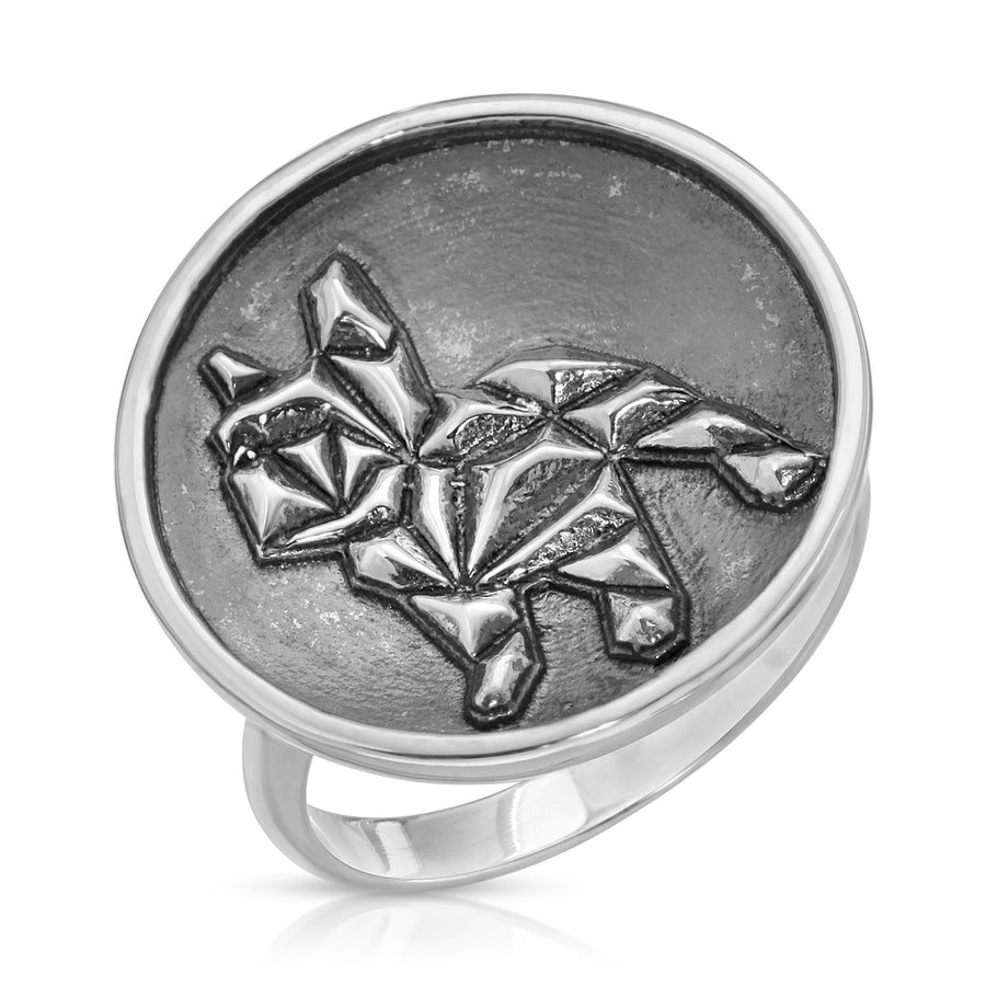 The W Brothers 925 Sterling Silver Geometric French Bulldog Ring