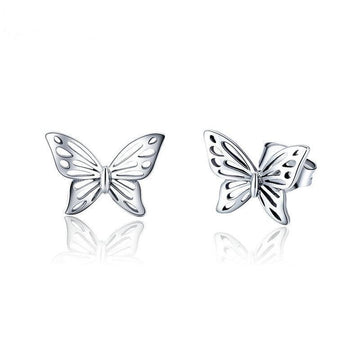 The W Brothers 925 sterling silver butterfly earrings, monarch butterfly earrings fashion female women jewelry earrings