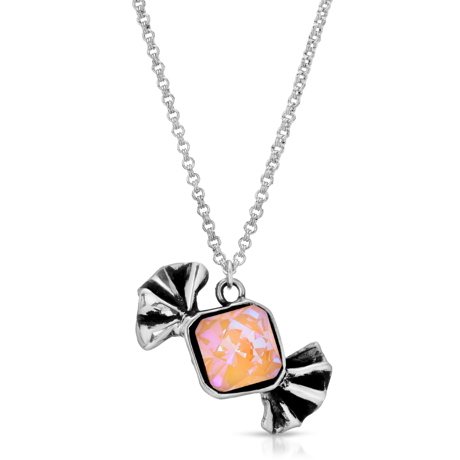 The W Brothers Premium Grade A 925 Sterling Silver Peach Bow-Tie Candy Pendant. Each distinct candy pendant is hand-selected & set with tri-toned clarity Swarovski crystals to enumerate a modern chest piece for women. Available at www.thewbros.com