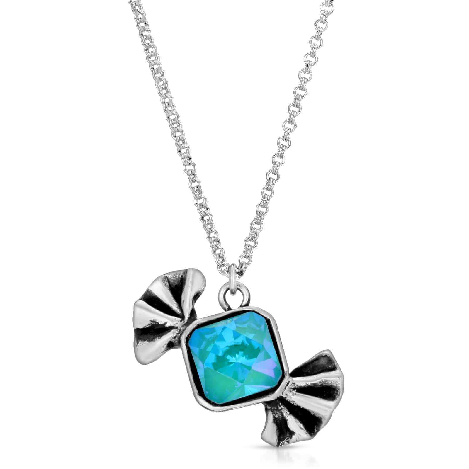 The W Brothers Premium Grade A 925 Sterling Silver Blue Zircon BlueOpal Bow-Tie Candy Pendant. Each distinct candy pendant is hand-selected & set with tri-toned clarity Swarovski crystals to enumerate a modern chest piece for women. Available at www.thewbros.com