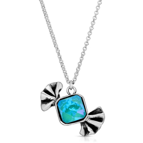 Blue Zircon Bow-Tie Candy Pendant