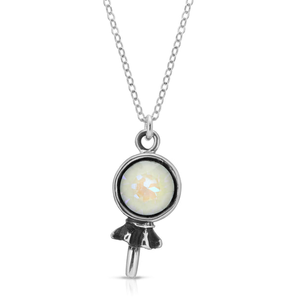 The W Brothers Premium Grade A 925 Sterling Silver White Opal Lollipop Pendant. Our Lollipop Pendants are individually set with hand-selected tri-toned Swarovski crystals on premium Grade A Silver. Available at www.thewbros.com