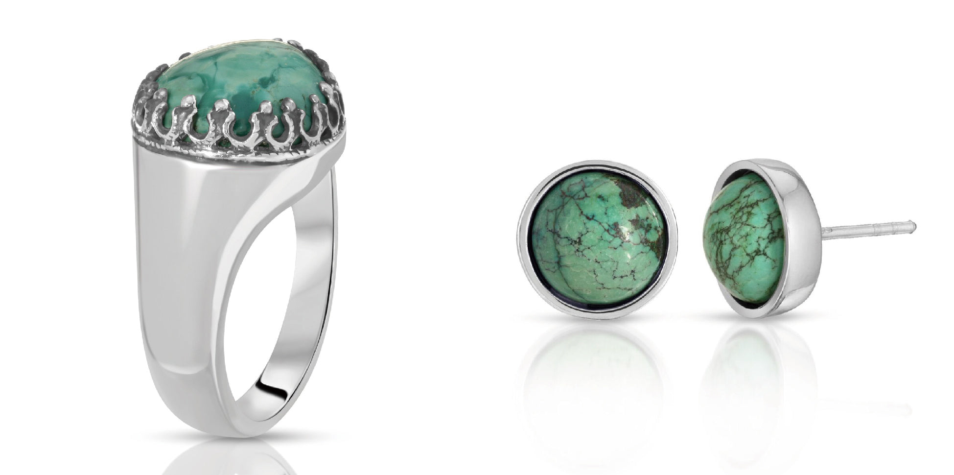 The W Brothers turquoise teardrop ring & turquoise round-cut earrings bundle set, thewbros gemstone collection A Grade 925 sterling silver turquoise ring, AA Grade turquoise ring & earrings bundle set deal thewbrothers gemstone jewelry set collection