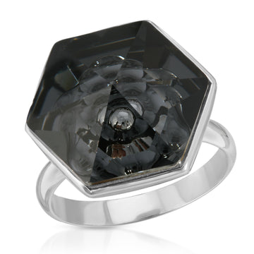 The W Brothers Hexagon 18 mm Dark Black Swarovski Pendant Necklace and Ring in Silver for girls, women, men , and male.