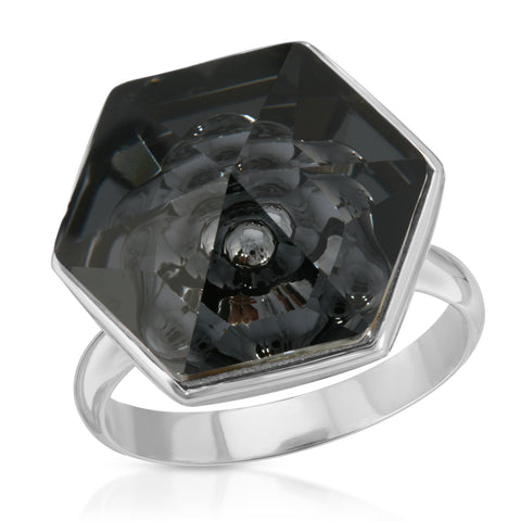 Black Hexagon Ring (18 mm)
